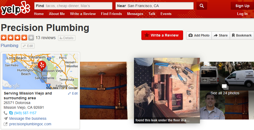Yelp Reviews on Precision Plumbing